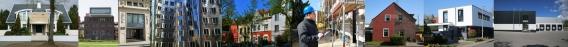 Collage von Bürogebäuden und Einfamilienhäusern